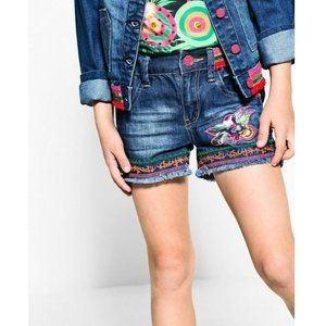 Desigual Girls Blue Denim Floral Bermuda Shorts